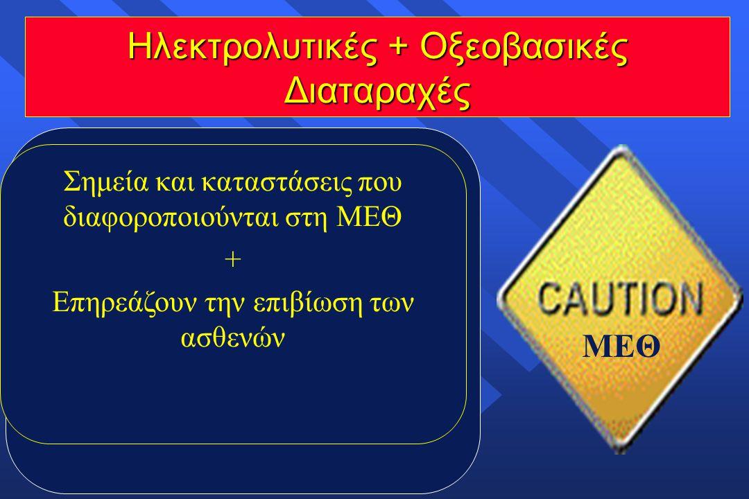 Ηλεκτρολυτικές + Οξεοβασικές Διαταραχές ΜΕΘ  Παρατηρούνται σε διάφορες παθήσεις, (παθολογικές, χειρουργικές, καρδιολογικές, νεφρολογικές κ.ά.) επιβαρ