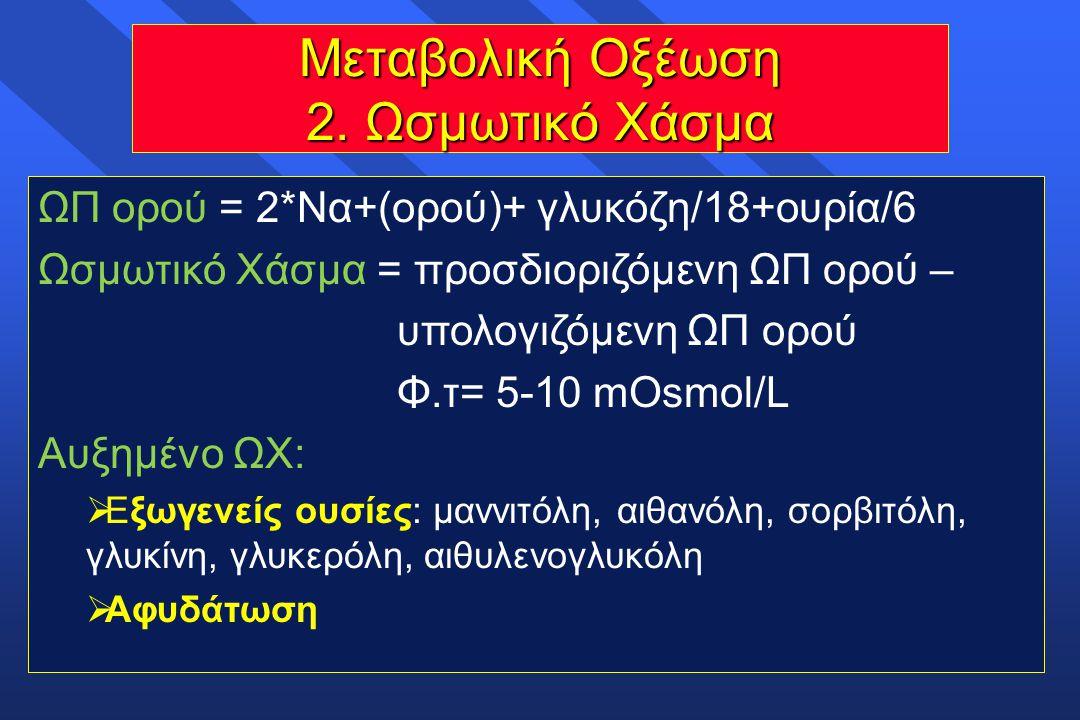 Μεταβολική Οξέωση 2. Ωσμωτικό Χάσμα ΩΠ ορού = 2*Να+(ορού)+ γλυκόζη/18+ουρία/6 Ωσμωτικό Χάσμα = προσδιοριζόμενη ΩΠ ορού – υπολογιζόμενη ΩΠ ορού Φ.τ= 5-