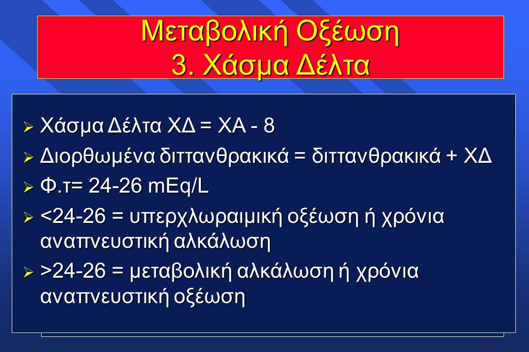 Μεταβολική Οξέωση 3. Χάσμα Δέλτα  Χάσμα Δέλτα ΧΔ = ΧΑ - 8  Διορθωμένα διττανθρακικά = διττανθρακικά + ΧΔ  Φ.τ= 24-26 mEq/L  <24-26 = υπερχλωραιμικ
