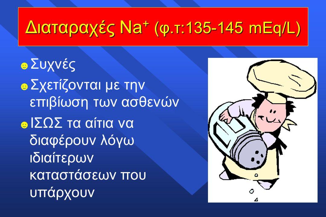 ☻ ☻ Συχνές ☻ ☻ Σχετίζονται με την επιβίωση των ασθενών ☻ ☻ ΙΣΩΣ τα αίτια να διαφέρουν λόγω ιδιαίτερων καταστάσεων που υπάρχουν Διαταραχές Νa + (φ.τ:13