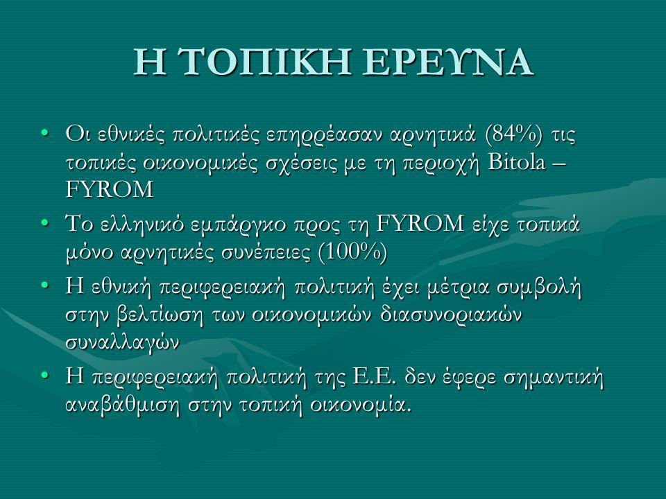 Η ΤΟΠΙΚΗ ΕΡΕΥΝΑ Οι εθνικές πολιτικές επηρρέασαν αρνητικά (84%) τις τοπικές οικονομικές σχέσεις με τη περιοχή Bitola – FYROMΟι εθνικές πολιτικές επηρρέ