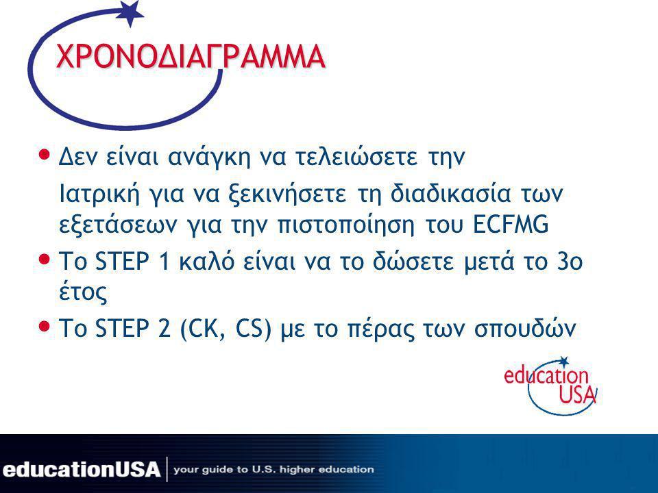 ΧΡΟΝΟΔΙΑΓΡΑΜΜΑ Δεν είναι ανάγκη να τελειώσετε την Ιατρική για να ξεκινήσετε τη διαδικασία των εξετάσεων για την πιστοποίηση του ECFMG Το STEP 1 καλό ε