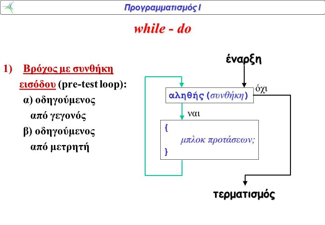 Προγραμματισμός Ι while - do 1)Βρόχος με συνθήκη εισόδου εισόδου (pre-test loop): α) οδηγούμενος από γεγονός β) οδηγούμενος από μετρητή αληθής( συνθήκη ) { μπλοκ προτάσεων; μπλοκ προτάσεων;} ναι όχι έναρξη τερματισμός