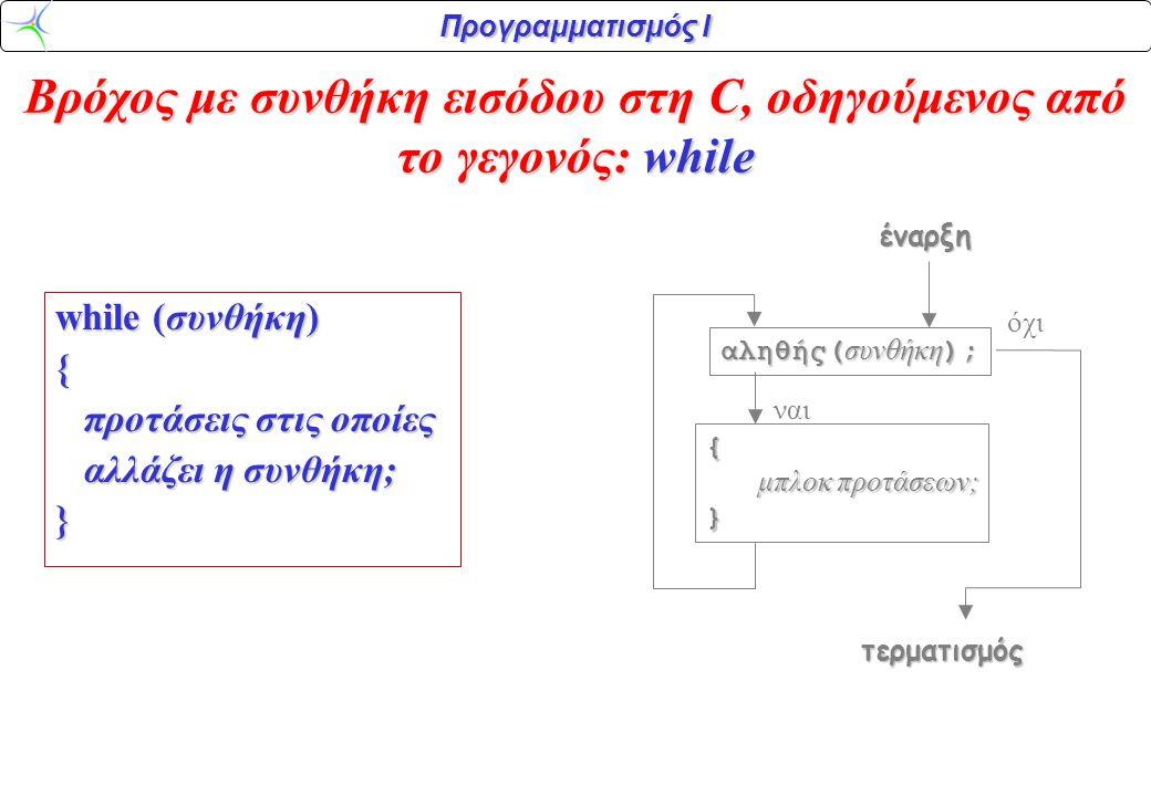 Προγραμματισμός Ι while δομημένα Ελληνικά Η λειτουργία της πρότασης επανάληψης while μπορεί να μορφοποιηθεί σε δομημένα Ελληνικά ως εξής: Έλεγξε τη συνθήκη.