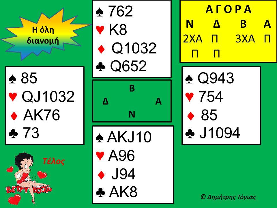 Β Δ Α Ν ♠ 85 ♥ QJ1032  AK76 ♣ 73 ♠ Q943 ♥ 754  85 ♣ J1094 Η όλη διανομή © Δημήτρης Τόγιας ♠ 762 ♥ K8  Q1032 ♣ Q652 ♠ AKJ10 ♥ A96  J94 ♣ AK8 Α Γ Ο