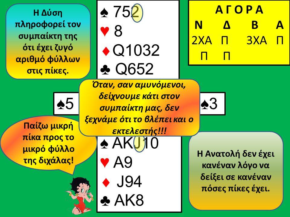 ♠5♠5 Α Γ Ο Ρ Α N Δ Β Α 2ΧΑ Π ♠ ΑΚJ10 ♥ Α9  J94 ♣ ΑK8 Β Δ Α Ν ♠ 752 ♥ 8  Q1032 ♣ Q652 Α Γ Ο Ρ Α N Δ Β Α 2ΧΑ Π 3ΧΑ Π Π Π ♠3♠3 Παίζω μικρή πίκα προς το μικρό φύλλο της διχάλας.