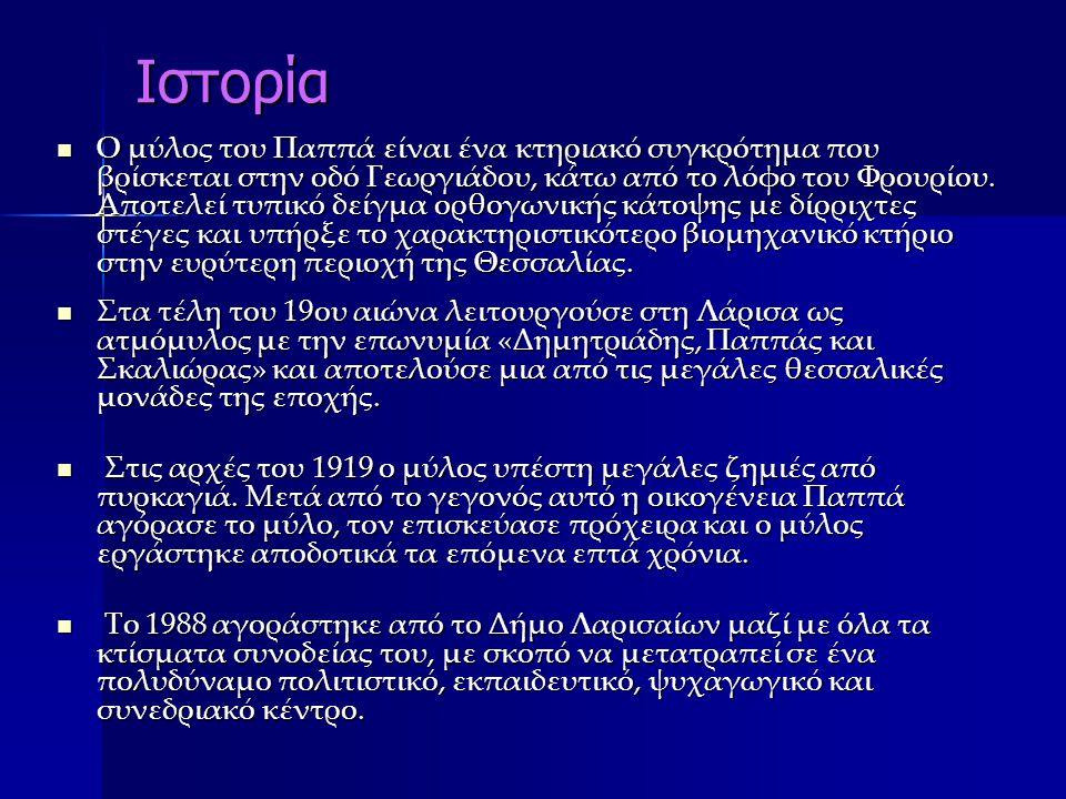 Ιστορία Ο μύλος του Παππά είναι ένα κτηριακό συγκρότημα που βρίσκεται στην οδό Γεωργιάδου, κάτω από το λόφο του Φρουρίου. Αποτελεί τυπικό δείγμα ορθογ