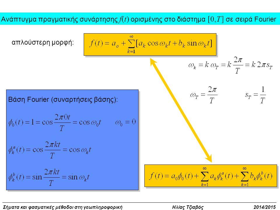 Σήματα και φασματικές μέθοδοι στη γεωπληροφορική Ηλίας Τζιαβός 2014/2015 Βάση Fourier (συναρτήσεις βάσης): απλούστερη μορφή: Ανάπτυγμα πραγματικής συν