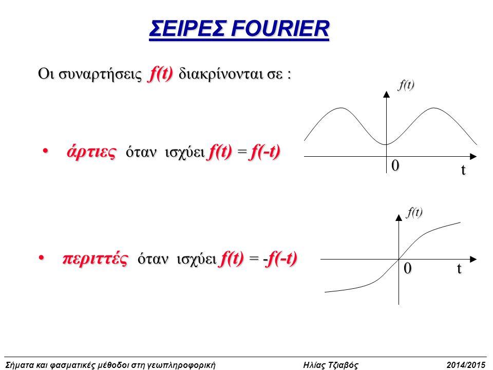 Σήματα και φασματικές μέθοδοι στη γεωπληροφορική Ηλίας Τζιαβός 2014/2015 Οι συναρτήσεις f(t) διακρίνονται σε : άρτιες όταν ισχύει f(t) = f(-t)άρτιες ό