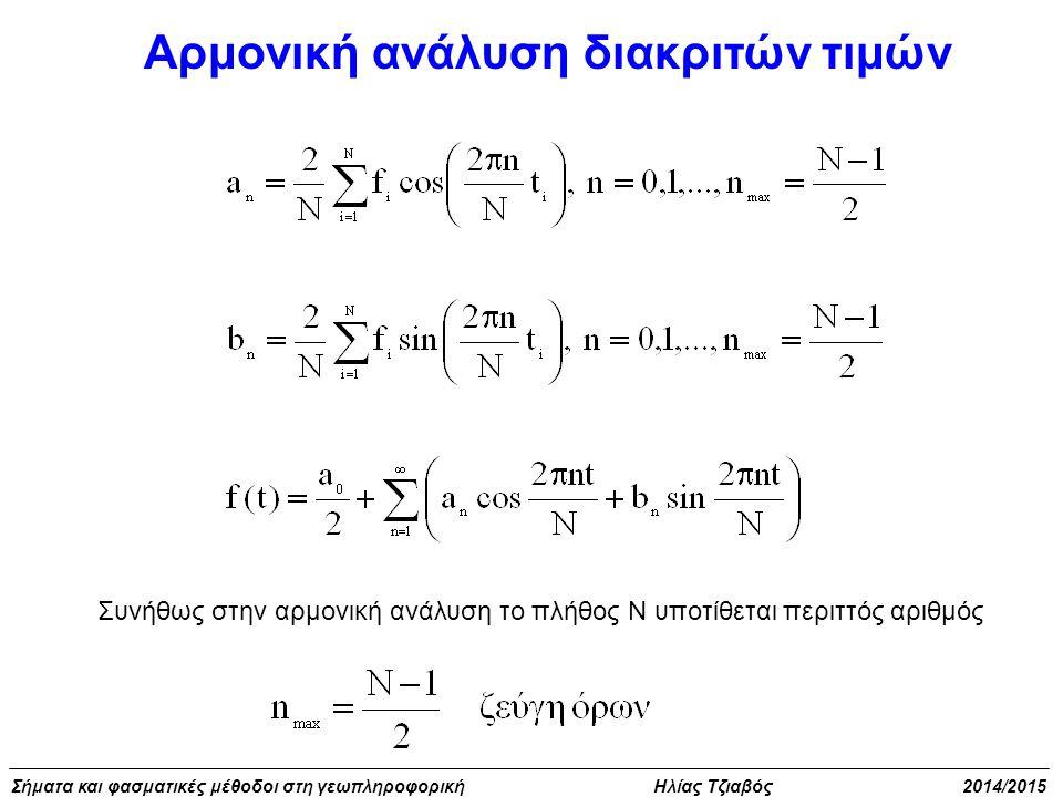 Σήματα και φασματικές μέθοδοι στη γεωπληροφορική Ηλίας Τζιαβός 2014/2015 Αρμονική ανάλυση διακριτών τιμών Συνήθως στην αρμονική ανάλυση το πλήθος Ν υπ