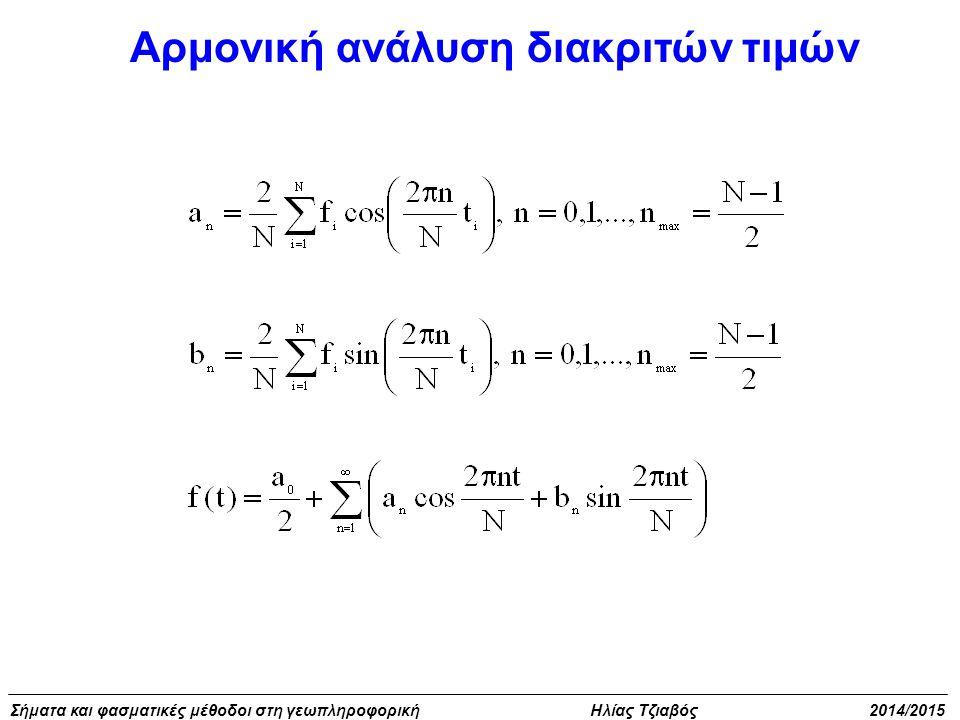 Σήματα και φασματικές μέθοδοι στη γεωπληροφορική Ηλίας Τζιαβός 2014/2015 Αρμονική ανάλυση διακριτών τιμών