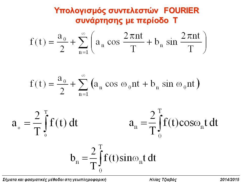 Σήματα και φασματικές μέθοδοι στη γεωπληροφορική Ηλίας Τζιαβός 2014/2015 Υπολογισμός συντελεστών FOURIER συνάρτησης με περίοδο Τ