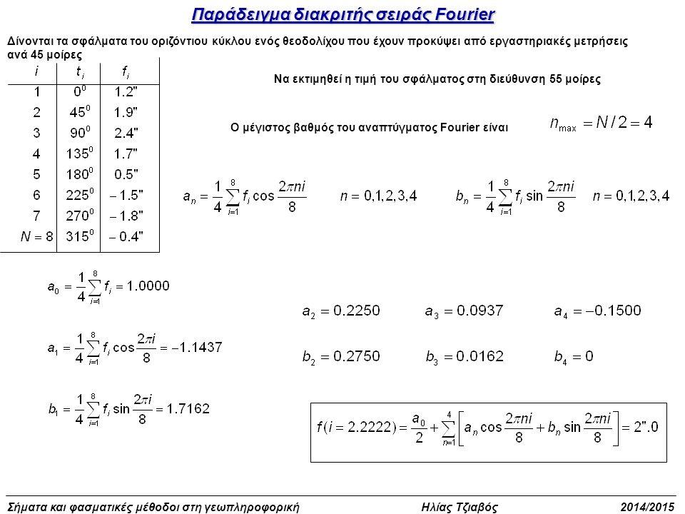 Σήματα και φασματικές μέθοδοι στη γεωπληροφορική Ηλίας Τζιαβός 2014/2015 Παράδειγμα διακριτής σειράς Fourier Δίνονται τα σφάλματα του οριζόντιου κύκλο