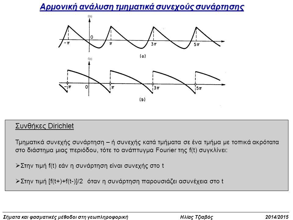 Σήματα και φασματικές μέθοδοι στη γεωπληροφορική Ηλίας Τζιαβός 2014/2015 Η γενική μορφή ανάπτυξης της συνάρτησης f(t) σε τριγωνομετρική σειρά Fourier είναι : ΣΕΙΡΕΣ FOURIER