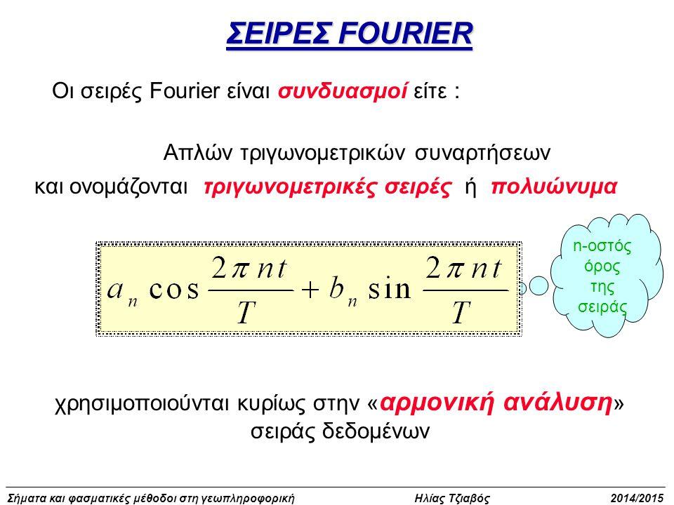 Σήματα και φασματικές μέθοδοι στη γεωπληροφορική Ηλίας Τζιαβός 2014/2015 Οι συναρτήσεις f(t) διακρίνονται σε : άρτιες όταν ισχύει f(t) = f(-t)άρτιες όταν ισχύει f(t) = f(-t) περιττές όταν ισχύει f(t) = - f(-t)περιττές όταν ισχύει f(t) = - f(-t) 0 tf(t) 0tf(t) ΣΕΙΡΕΣ FOURIER