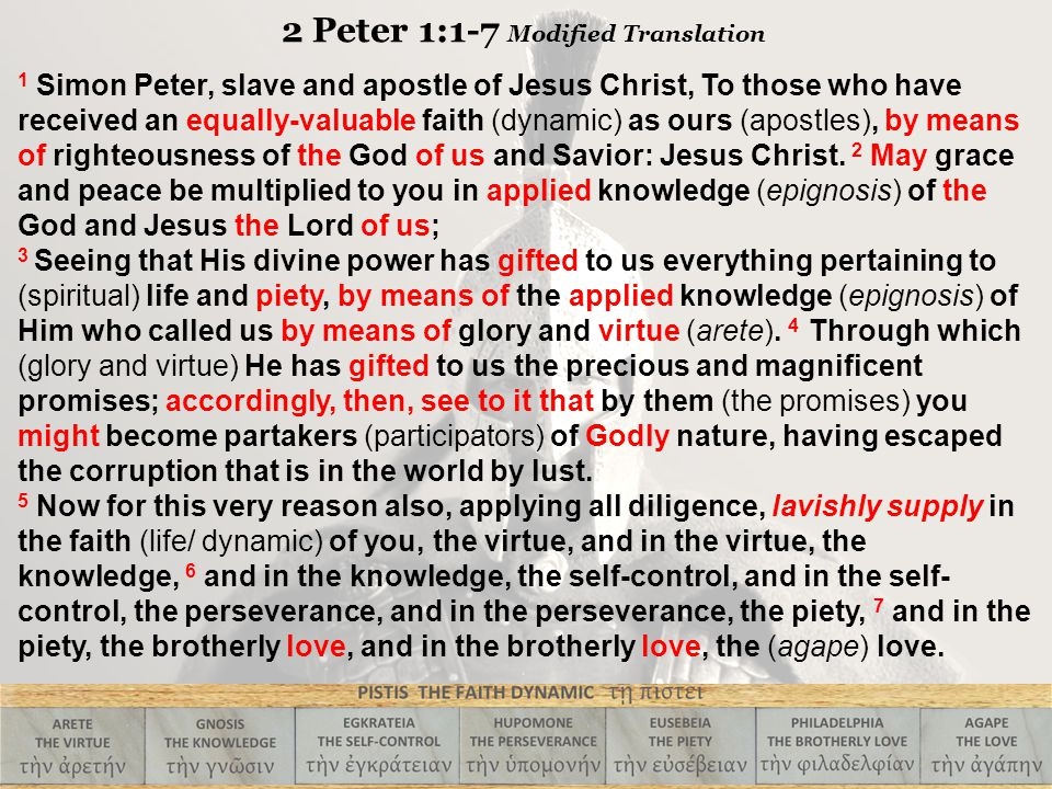 1 Simon Peter, slave and apostle of Jesus Christ, To those who have received an equally-valuable faith (dynamic) as ours (apostles), by means of righteousness of the God of us and Savior: Jesus Christ.