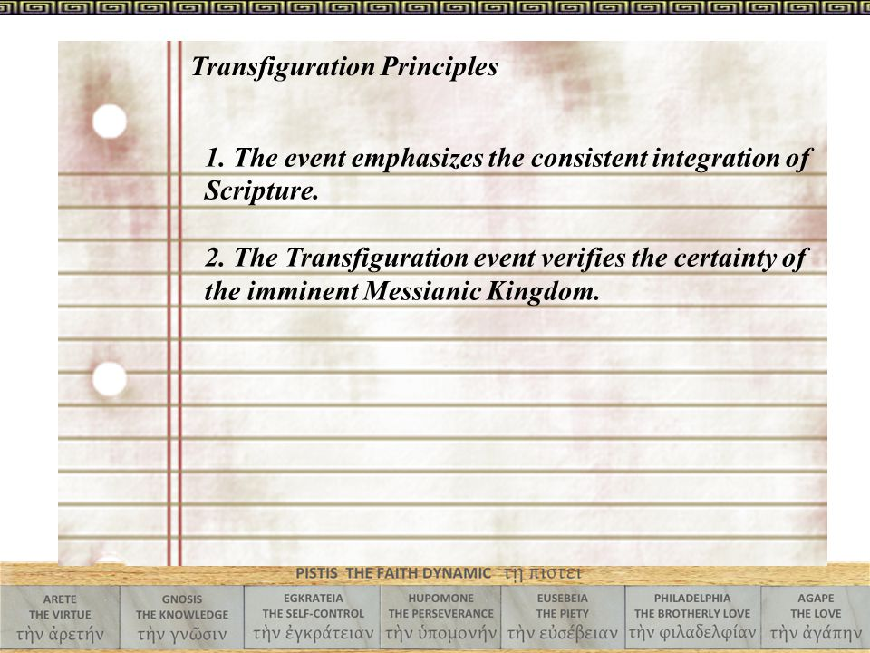1. The event emphasizes the consistent integration of Scripture. 2. The Transfiguration event verifies the certainty of the imminent Messianic Kingdom