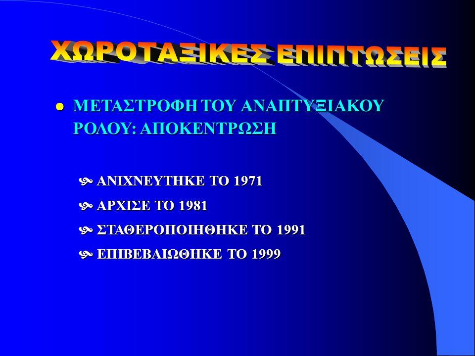l ΜΕΤΑΣΤΡΟΦΗ ΤΟΥ ΑΝΑΠΤΥΞΙΑΚΟΥ ΡΟΛΟΥ: ΑΠΟΚΕΝΤΡΩΣΗ  ΑΝΙΧΝΕΥΤΗΚΕ ΤΟ 1971  ΑΡΧΙΣΕ ΤΟ 1981  ΣΤΑΘΕΡΟΠΟΙΗΘΗΚΕ ΤΟ 1991  ΕΠΙΒΕΒΑΙΩΘΗΚΕ ΤΟ 1999