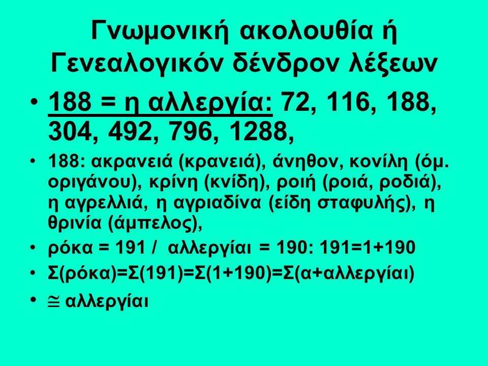Γνωμονική ακολουθία ή Γενεαλογικόν δένδρον λέξεων 188 = η αλλεργία: 72, 116, 188, 304, 492, 796, 1288, 188: ακρανειά (κρανειά), άνηθον, κονίλη (όμ.