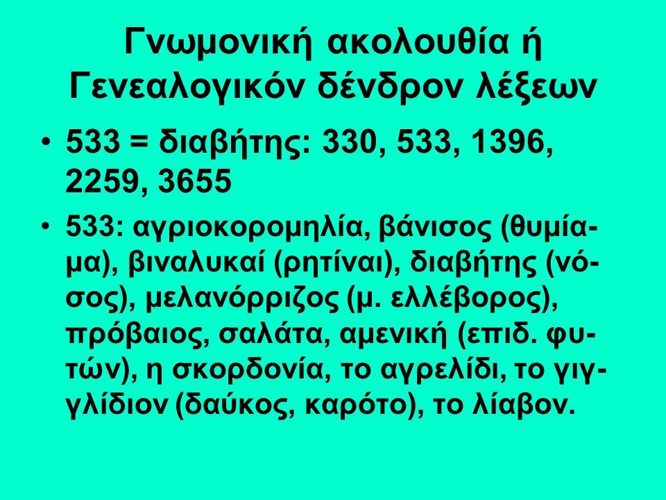 Γνωμονική ακολουθία ή Γενεαλογικόν δένδρον λέξεων 533 = διαβήτης: 330, 533, 1396, 2259, 3655 533: αγριοκορομηλία, βάνισος (θυμία- μα), βιναλυκαί (ρητίναι), διαβήτης (νό- σος), μελανόρριζος (μ.