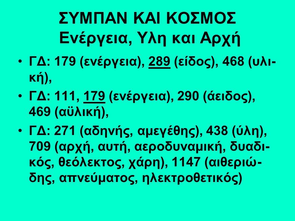 ΣΥΜΠΑΝ ΚΑΙ ΚΟΣΜΟΣ Ενέργεια, Υλη και Αρχή ΓΔ: 179 (ενέργεια), 289 (είδος), 468 (υλι- κή), ΓΔ: 111, 179 (ενέργεια), 290 (άειδος), 469 (αϋλική), ΓΔ: 271 (αδηνής, αμεγέθης), 438 (ύλη), 709 (αρχή, αυτή, αεροδυναμική, δυαδι- κός, θεόλεκτος, χάρη), 1147 (αιθεριώ- δης, απνεύματος, ηλεκτροθετικός)