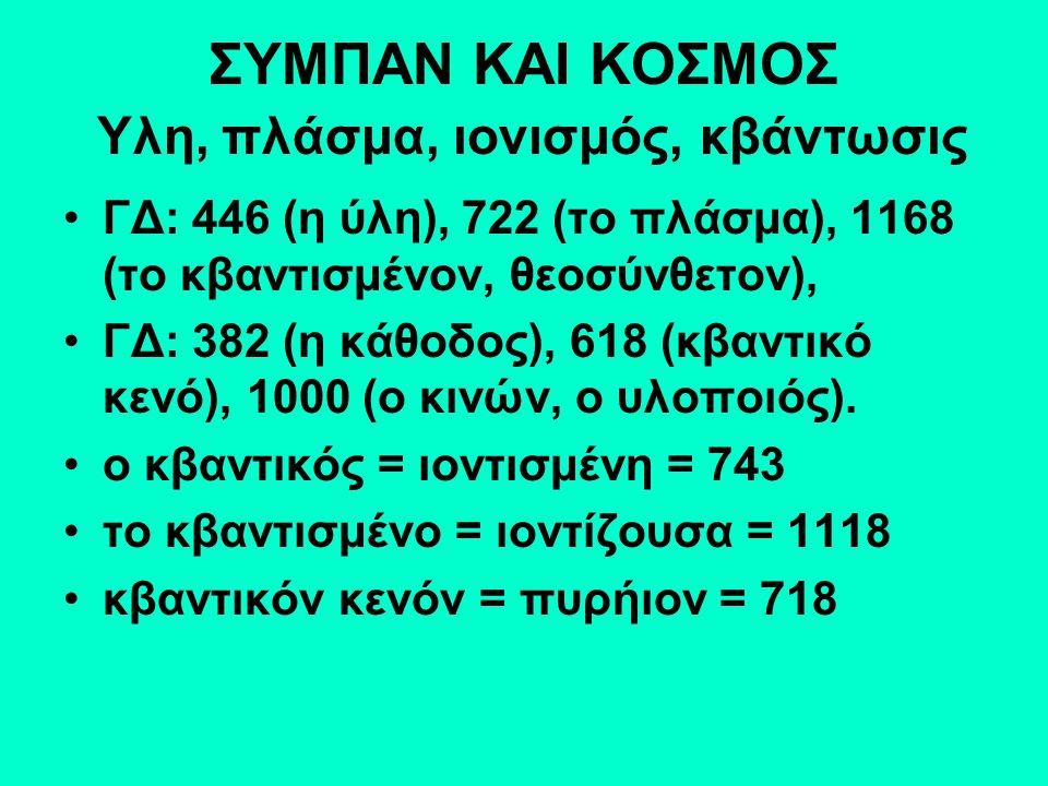 ΣΥΜΠΑΝ ΚΑΙ ΚΟΣΜΟΣ Υλη, πλάσμα, ιονισμός, κβάντωσις ΓΔ: 446 (η ύλη), 722 (το πλάσμα), 1168 (το κβαντισμένον, θεοσύνθετον), ΓΔ: 382 (η κάθοδος), 618 (κβαντικό κενό), 1000 (ο κινών, ο υλοποιός).