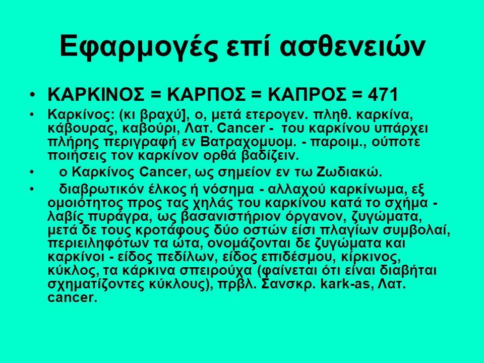 Εφαρμογές επί ασθενειών ΚΑΡΚΙΝΟΣ = ΚΑΡΠΟΣ = ΚΑΠΡΟΣ = 471 Καρκίνος: (κι βραχύ], ο, μετά ετερογεν.