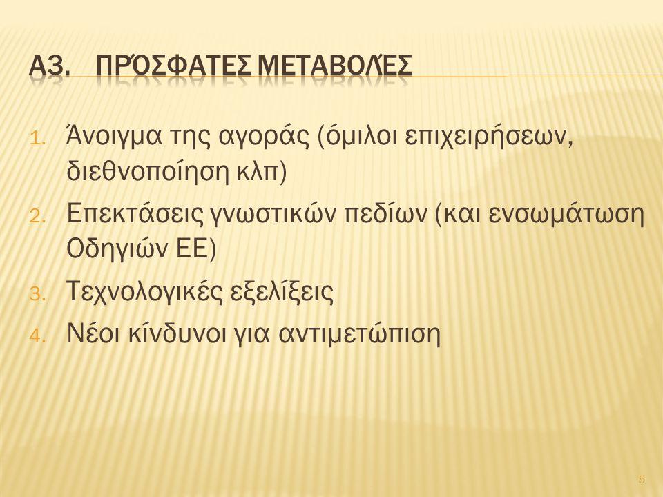 1.Μεταβολές γνωστικών πεδίων 2.