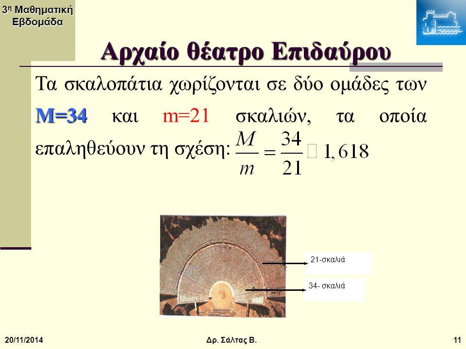 3 η Μαθηματική Εβδομάδα 20/11/201411 Αρχαίο θέατρο Επιδαύρου 21-σκαλιά 34- σκαλιά M=34 Τα σκαλοπάτια χωρίζονται σε δύο ομάδες των M=34 και m=21 σκαλιώ
