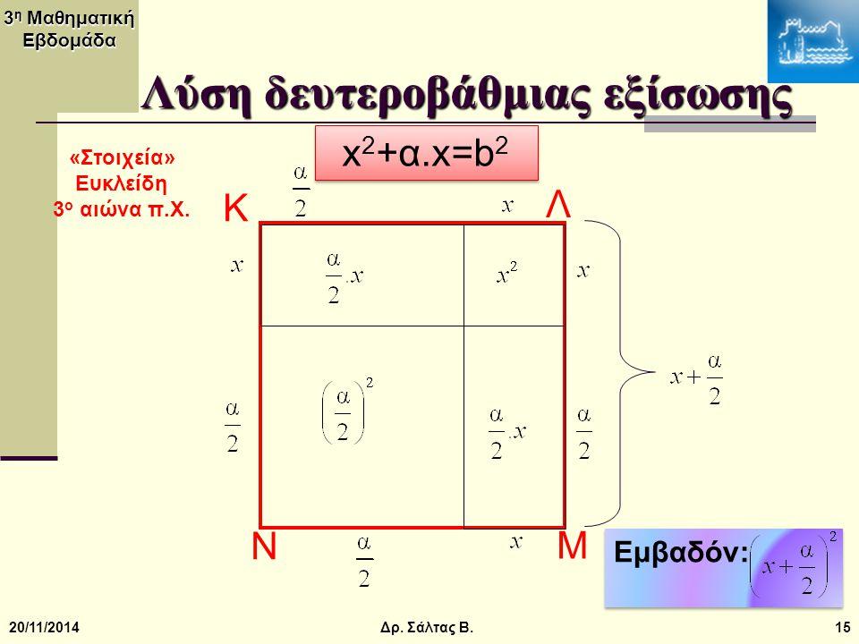 3 η Μαθηματική Εβδομάδα 20/11/201415 Λύση δευτεροβάθμιας εξίσωσης x 2 +α.x=b 2 Εμβαδόν: K Λ Μ Ν Δρ. Σάλτας Β. «Στοιχεία» Ευκλείδη 3 ο αιώνα π.Χ.