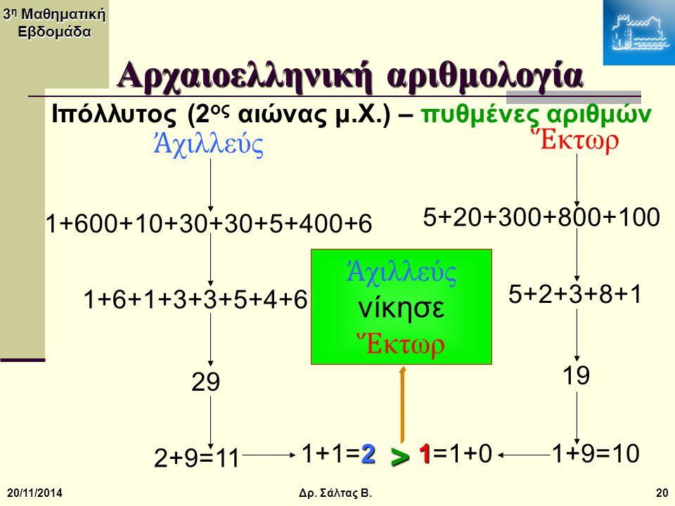 3 η Μαθηματική Εβδομάδα 20/11/201420 Αρχαιοελληνική αριθμολογία Ιπόλλυτος (2 ος αιώνας μ.Χ.) – πυθμένες αριθμών Ἀ χιλλεύς Ἕ κτωρ 1+600+10+30+30+5+400+