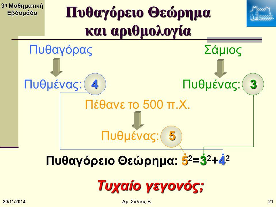 3 η Μαθηματική Εβδομάδα 20/11/201421 Πυθαγόρειο Θεώρημα και αριθμολογία Πυθαγόρας Σάμιος Πέθανε το 500 π.Χ. 4 Πυθμένας: 4 3 Πυθμένας: 3 5 Πυθμένας: 5