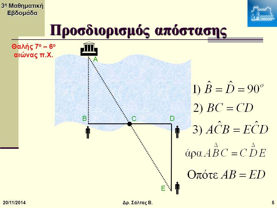 3 η Μαθηματική Εβδομάδα 20/11/20145  Προσδιορισμός απόστασης  D A B C E   Δρ. Σάλτας Β. Θαλής 7 ο – 6 ο αιώνας π.Χ.