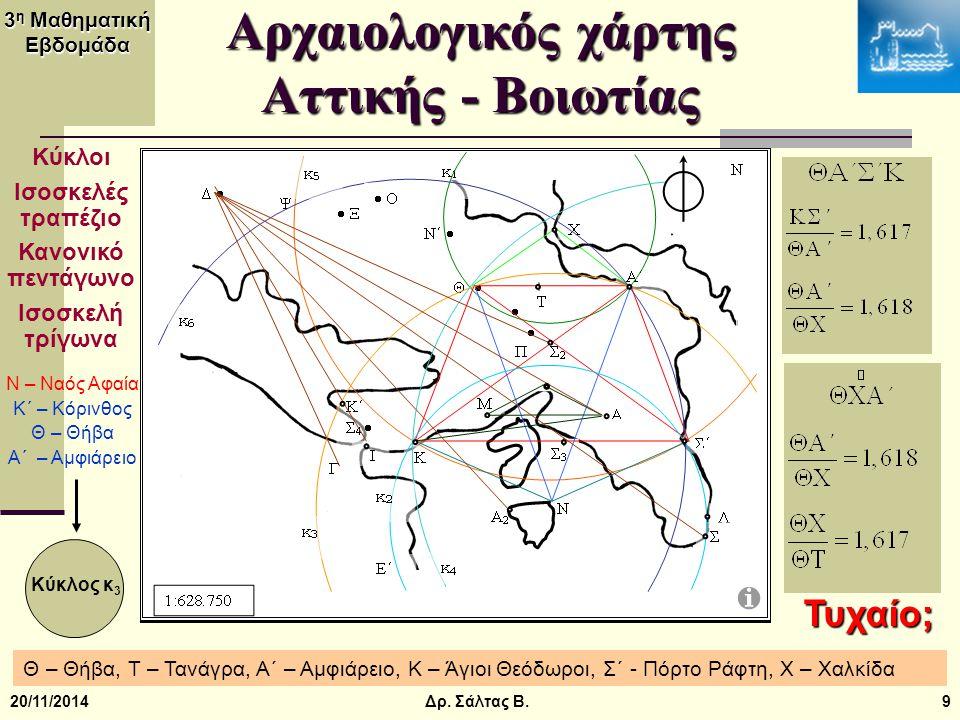 3 η Μαθηματική Εβδομάδα 20/11/201420 Αρχαιοελληνική αριθμολογία Ιπόλλυτος (2 ος αιώνας μ.Χ.) – πυθμένες αριθμών Ἀ χιλλεύς Ἕ κτωρ 1+600+10+30+30+5+400+6 5+20+300+800+100 1+6+1+3+3+5+4+6 29 2+9=11 2 1+1=2 5+2+3+8+1 19 1+9=10 1 1=1+0 > Ἀ χιλλεύς νίκησε Ἕ κτωρ Δρ.