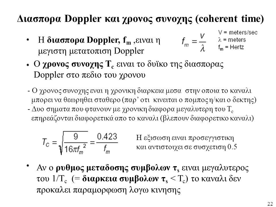 22 Διασπορα Doppler και χρονος συνοχης (coherent time) Η διασπορα Doppler, f m,ειναι η μεγιστη μετατοπιση Doppler Ο χρονος συνοχης Τ c ειναι το δυϊκο