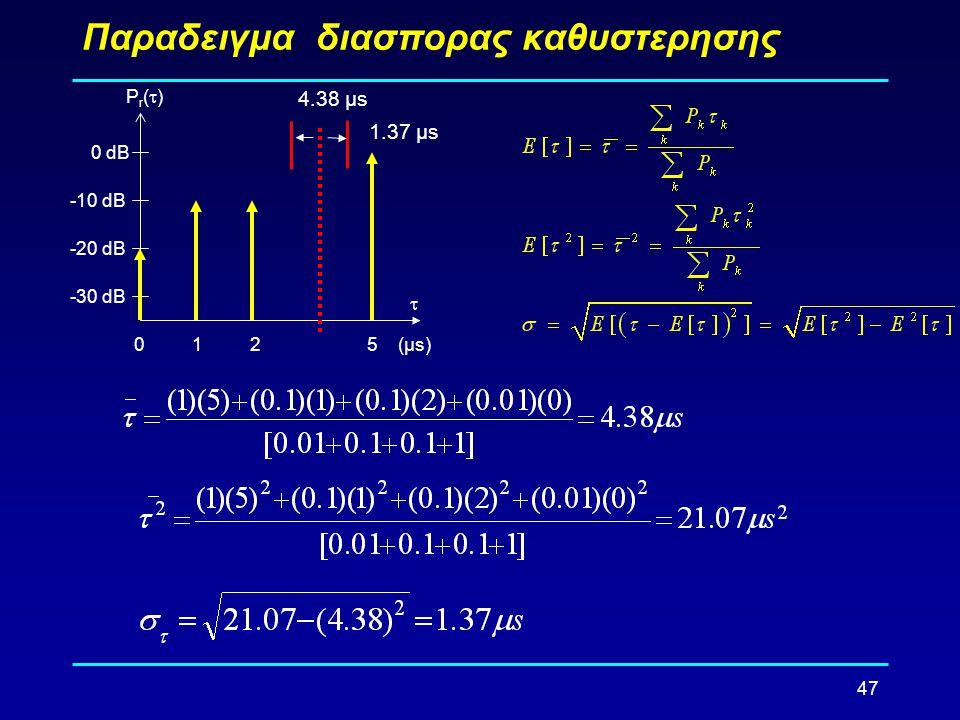 47 Παραδειγμα διασπορας καθυστερησης -30 dB -20 dB -10 dB 0 dB 0125 Pr()Pr() (µs)  1.37 µs 4.38 µs
