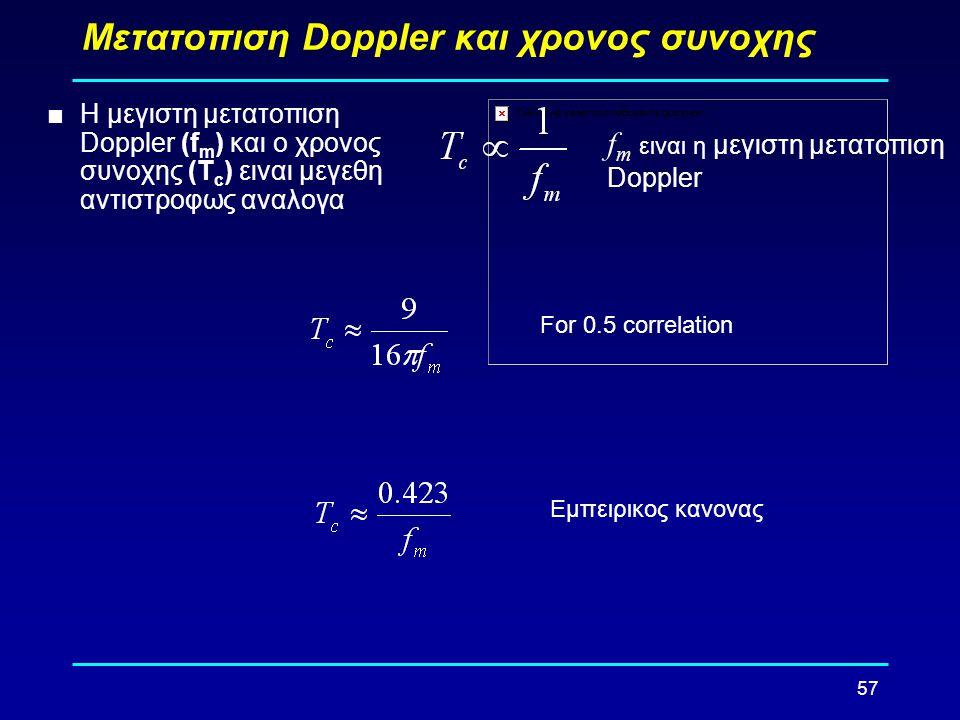 57 Μετατοπιση Doppler και χρονος συνοχης  Η μεγιστη μετατοπιση Doppler (f m ) και ο χρονος συνοχης (T c ) ειναι μεγεθη αντιστροφως αναλογα Εμπειρικος