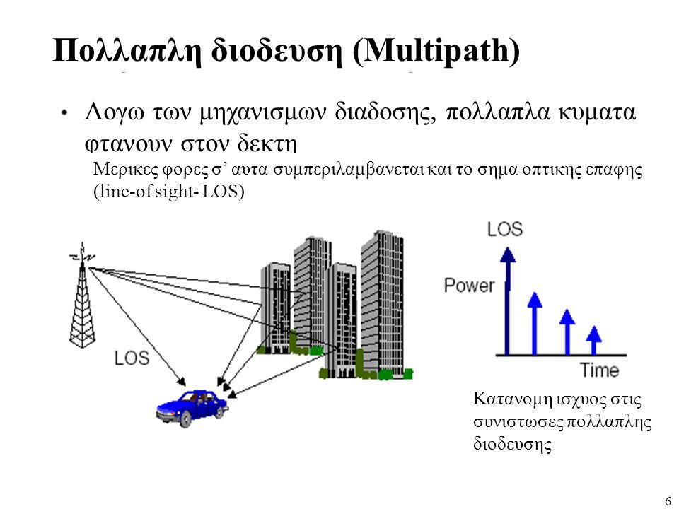 6 Πολλαπλη διοδευση (Multipath) Λογω των μηχανισμων διαδοσης, πολλαπλα κυματα φτανουν στον δεκτη Μερικες φορες σ' αυτα συμπεριλαμβανεται και το σημα ο