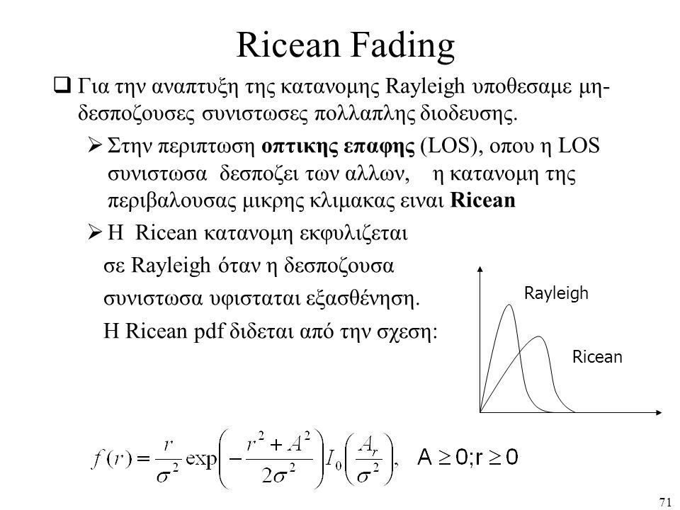71 Ricean Fading  Για την αναπτυξη της κατανομης Rayleigh υποθεσαμε μη- δεσποζουσες συνιστωσες πολλαπλης διοδευσης.  Στην περιπτωση οπτικης επαφης (