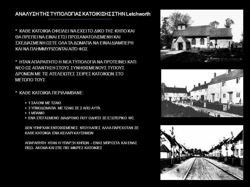 ΑΝΑΛΥΣΗ ΤΗΣ ΤΥΠΟΛΟΓΙΑΣ ΚΑΤΟΙΚΙΣΗΣ ΣΤΗΝ Letchworth * ΚΑΘΕ ΚΑΤΟΙΚΙΑ ΟΦΕΙΛΕΙ ΝΑ ΕΧΕΙ ΤΟ ΔΙΚΟ ΤΗΣ ΚΗΠΟ ΚΑΙ ΘΑ ΠΡΕΠΕΙ ΝΑ ΕΙΝΑΙ ΕΤΣΙ ΠΡΟΣΑΝΑΤΟΛΙΣΜΕΝΗ ΚΑΙ ΣΧ