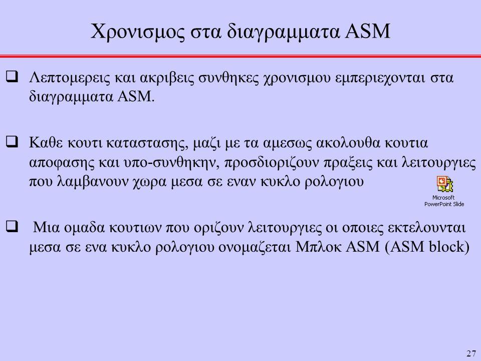 27 Χρονισμος στα διαγραμματα ASM  Λεπτομερεις και ακριβεις συνθηκες χρονισμου εμπεριεχονται στα διαγραμματα ASM.  Καθε κουτι καταστασης, μαζι με τα