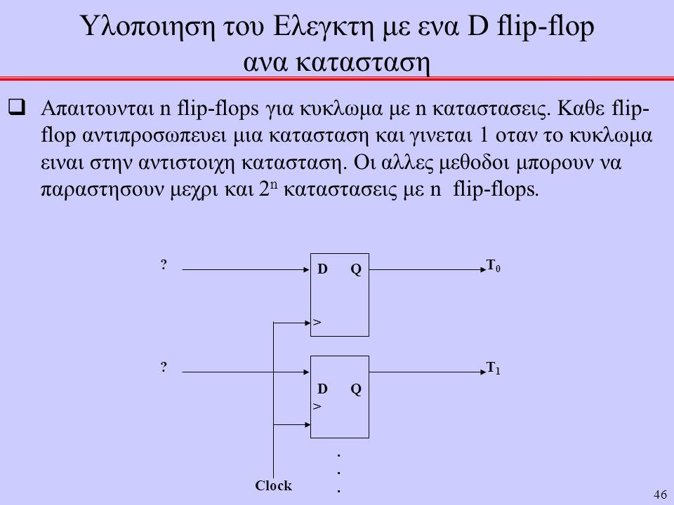 46 Υλοποιηση του Ελεγκτη με ενα D flip-flop ανα κατασταση  Απαιτουνται n flip-flops για κυκλωμα με n καταστασεις. Καθε flip- flop αντιπροσωπευει μια
