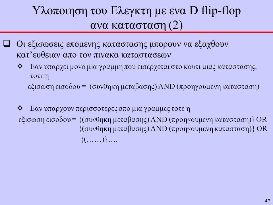 47 Υλοποιηση του Ελεγκτη με ενα D flip-flop ανα κατασταση (2)  Οι εξισωσεις επομενης καταστασης μπορουν να εξαχθουν κατ'ευθειαν απο τον πινακα καταστασεων  Εαν υπαρχει μονο μια γραμμη που εισερχεται στο κουτι μιας καταστασης, τοτε η εξισωση εισοδου = (συνθηκη μεταβασης) AND (προηγουμενη κατασταση)  Εαν υπαρχουν περισσοτερες απο μια γραμμες τοτε η εξισωση εισοδου = {(συνθηκη μεταβασης) AND (προηγουμενη κατασταση)} OR {(συνθηκη μεταβασης) AND (προηγουμενη κατασταση)} OR {(……)}….
