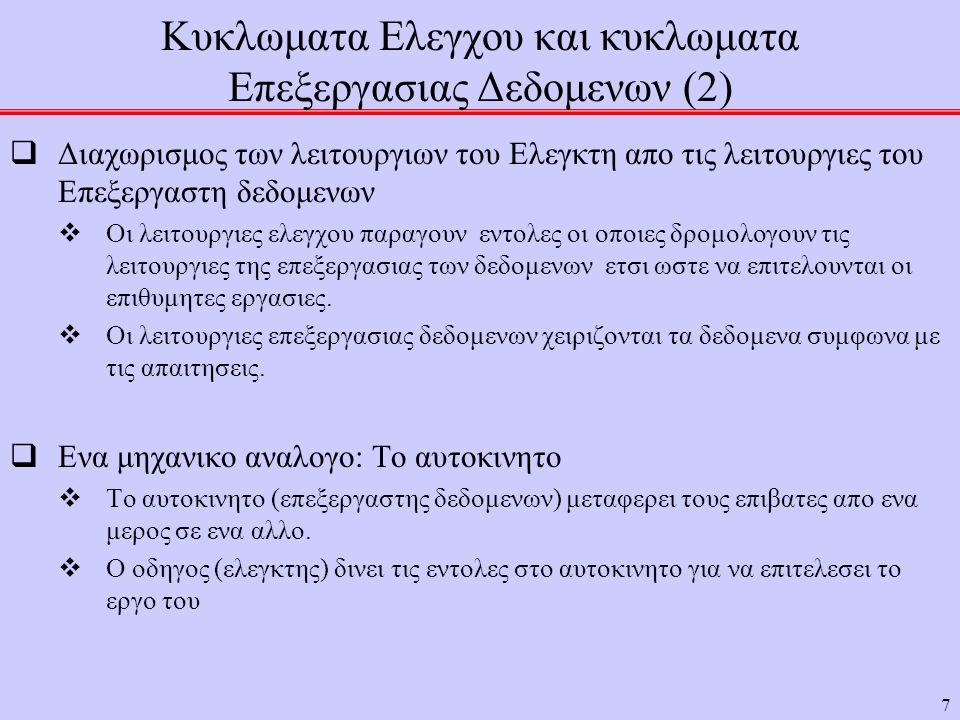 7 Κυκλωματα Ελεγχου και κυκλωματα Επεξεργασιας Δεδομενων (2)  Διαχωρισμος των λειτουργιων του Ελεγκτη απο τις λειτουργιες του Επεξεργαστη δεδομενων  Οι λειτουργιες ελεγχου παραγουν εντολες οι οποιες δρομολογουν τις λειτουργιες της επεξεργασιας των δεδομενων ετσι ωστε να επιτελουνται οι επιθυμητες εργασιες.
