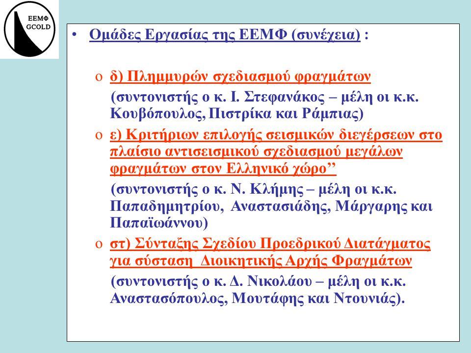 Ομάδες Εργασίας της ΕΕΜΦ (συνέχεια) : oδ) Πλημμυρών σχεδιασμού φραγμάτων (συντονιστής ο κ. Ι. Στεφανάκος – μέλη οι κ.κ. Κουβόπουλος, Πιστρίκα και Ράμπ
