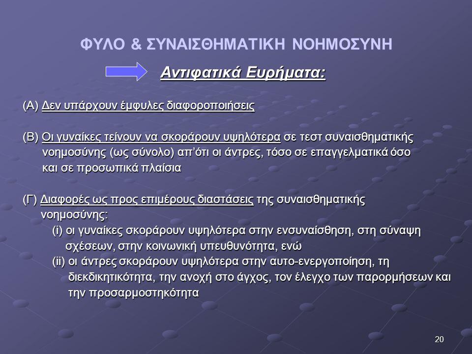 20 ΦΥΛΟ & ΣΥΝΑΙΣΘΗΜΑΤΙΚΗ ΝΟΗΜΟΣΥΝΗ Αντιφατικά Ευρήματα: Αντιφατικά Ευρήματα: (Α) Δεν υπάρχουν έμφυλες διαφοροποιήσεις (Β) Οι γυναίκες τείνουν να σκορά