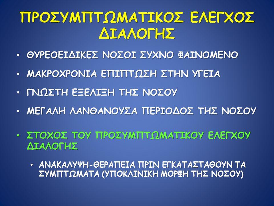 ΠΡΟΣΥΜΠΤΩΜΑΤΙΚΟΣ ΕΛΕΓΧΟΣ ΔΙΑΛΟΓΗΣ ΘΥΡΕΟΕΙΔΙΚΕΣ ΝΟΣΟΙ ΣΥΧΝΟ ΦΑΙΝΟΜΕΝΟ ΘΥΡΕΟΕΙΔΙΚΕΣ ΝΟΣΟΙ ΣΥΧΝΟ ΦΑΙΝΟΜΕΝΟ ΜΑΚΡΟΧΡΟΝΙΑ ΕΠΙΠΤΩΣΗ ΣΤΗΝ ΥΓΕΙΑ ΜΑΚΡΟΧΡΟΝΙΑ ΕΠΙΠΤΩΣΗ ΣΤΗΝ ΥΓΕΙΑ ΓΝΩΣΤΗ ΕΞΕΛΙΞΗ ΤΗΣ ΝΟΣΟΥ ΓΝΩΣΤΗ ΕΞΕΛΙΞΗ ΤΗΣ ΝΟΣΟΥ ΜΕΓΑΛΗ ΛΑΝΘΑΝΟΥΣΑ ΠΕΡΙΟΔΟΣ ΤΗΣ ΝΟΣΟΥ ΜΕΓΑΛΗ ΛΑΝΘΑΝΟΥΣΑ ΠΕΡΙΟΔΟΣ ΤΗΣ ΝΟΣΟΥ ΣΤΟΧΟΣ ΤΟΥ ΠΡΟΣΥΜΠΤΩΜΑΤΙΚΟΥ ΕΛΕΓΧΟΥ ΔΙΑΛΟΓΗΣ ΣΤΟΧΟΣ ΤΟΥ ΠΡΟΣΥΜΠΤΩΜΑΤΙΚΟΥ ΕΛΕΓΧΟΥ ΔΙΑΛΟΓΗΣ ΑΝΑΚΑΛΥΨΗ-ΘΕΡΑΠΕΙΑ ΠΡΙΝ ΕΓΚΑΤΑΣΤΑΘΟΥΝ ΤΑ ΣΥΜΠΤΩΜΑΤΑ (ΥΠΟΚΛΙΝΙΚΗ ΜΟΡΦΗ ΤΗΣ ΝΟΣΟΥ) ΑΝΑΚΑΛΥΨΗ-ΘΕΡΑΠΕΙΑ ΠΡΙΝ ΕΓΚΑΤΑΣΤΑΘΟΥΝ ΤΑ ΣΥΜΠΤΩΜΑΤΑ (ΥΠΟΚΛΙΝΙΚΗ ΜΟΡΦΗ ΤΗΣ ΝΟΣΟΥ)