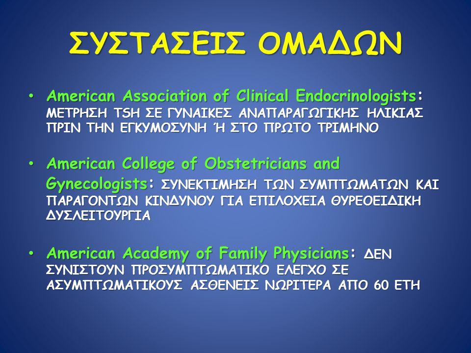 ΣΥΣΤΑΣΕΙΣ ΟΜΑΔΩΝ American Association of Clinical Endocrinologists : ΜΕΤΡΗΣΗ TSH ΣΕ ΓΥΝΑΙΚΕΣ ΑΝΑΠΑΡΑΓΩΓΙΚΗΣ ΗΛΙΚΙΑΣ ΠΡΙΝ ΤΗΝ ΕΓΚΥΜΟΣΥΝΗ Ή ΣΤΟ ΠΡΩΤΟ ΤΡΙΜΗΝΟ American Association of Clinical Endocrinologists : ΜΕΤΡΗΣΗ TSH ΣΕ ΓΥΝΑΙΚΕΣ ΑΝΑΠΑΡΑΓΩΓΙΚΗΣ ΗΛΙΚΙΑΣ ΠΡΙΝ ΤΗΝ ΕΓΚΥΜΟΣΥΝΗ Ή ΣΤΟ ΠΡΩΤΟ ΤΡΙΜΗΝΟ American College of Obstetricians and Gynecologists : ΣΥΝΕΚΤΙΜΗΣΗ ΤΩΝ ΣΥΜΠΤΩΜΑΤΩΝ ΚΑΙ ΠΑΡΑΓΟΝΤΩΝ ΚΙΝΔΥΝΟΥ ΓΙΑ ΕΠΙΛΟΧΕΙΑ ΘΥΡΕΟΕΙΔΙΚΗ ΔΥΣΛΕΙΤΟΥΡΓΙΑ American College of Obstetricians and Gynecologists : ΣΥΝΕΚΤΙΜΗΣΗ ΤΩΝ ΣΥΜΠΤΩΜΑΤΩΝ ΚΑΙ ΠΑΡΑΓΟΝΤΩΝ ΚΙΝΔΥΝΟΥ ΓΙΑ ΕΠΙΛΟΧΕΙΑ ΘΥΡΕΟΕΙΔΙΚΗ ΔΥΣΛΕΙΤΟΥΡΓΙΑ American Academy of Family Physicians : ΔΕΝ ΣΥΝΙΣΤΟΥΝ ΠΡΟΣΥΜΠΤΩΜΑΤΙΚΟ ΕΛΕΓΧΟ ΣΕ ΑΣΥΜΠΤΩΜΑΤΙΚΟΥΣ ΑΣΘΕΝΕΙΣ ΝΩΡΙΤΕΡΑ ΑΠΟ 60 ΕΤΗ American Academy of Family Physicians : ΔΕΝ ΣΥΝΙΣΤΟΥΝ ΠΡΟΣΥΜΠΤΩΜΑΤΙΚΟ ΕΛΕΓΧΟ ΣΕ ΑΣΥΜΠΤΩΜΑΤΙΚΟΥΣ ΑΣΘΕΝΕΙΣ ΝΩΡΙΤΕΡΑ ΑΠΟ 60 ΕΤΗ