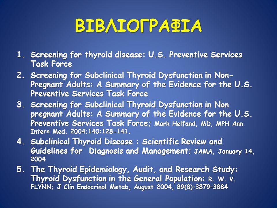 ΒΙΒΛΙΟΓΡΑΦΙΑ 1.Screening for thyroid disease: U.S.