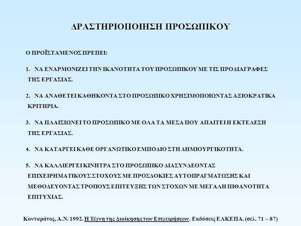 Κονταράτος, Α.Ν. 1992. Η Τέχνη της Διοίκησης των Επιχειρήσεων. Εκδόσεις ΕΛΚΕΠΑ. (σελ. 71 – 87) ΔΡΑΣΤΗΡΙΟΠΟΙΗΣΗ ΠΡΟΣΩΠΙΚΟΥ Ο ΠΡΟΪΣΤΑΜΕΝΟΣ ΠΡΕΠΕΙ: 1. ΝΑ